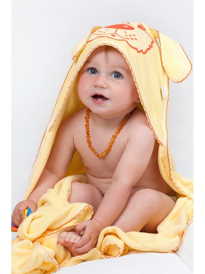 Detská froté osuška 80x80 psík žltá