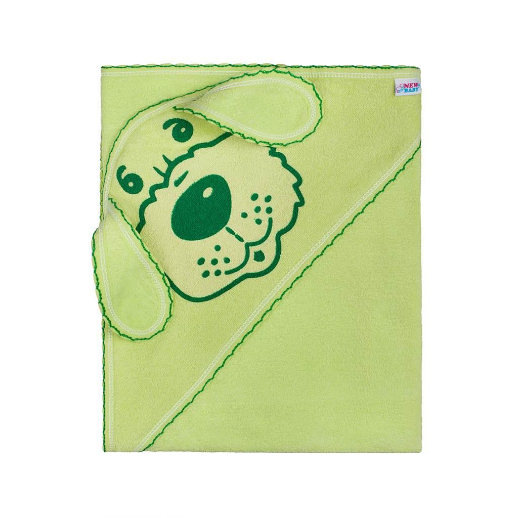 Detská froté osuška 80x80 psík zelená