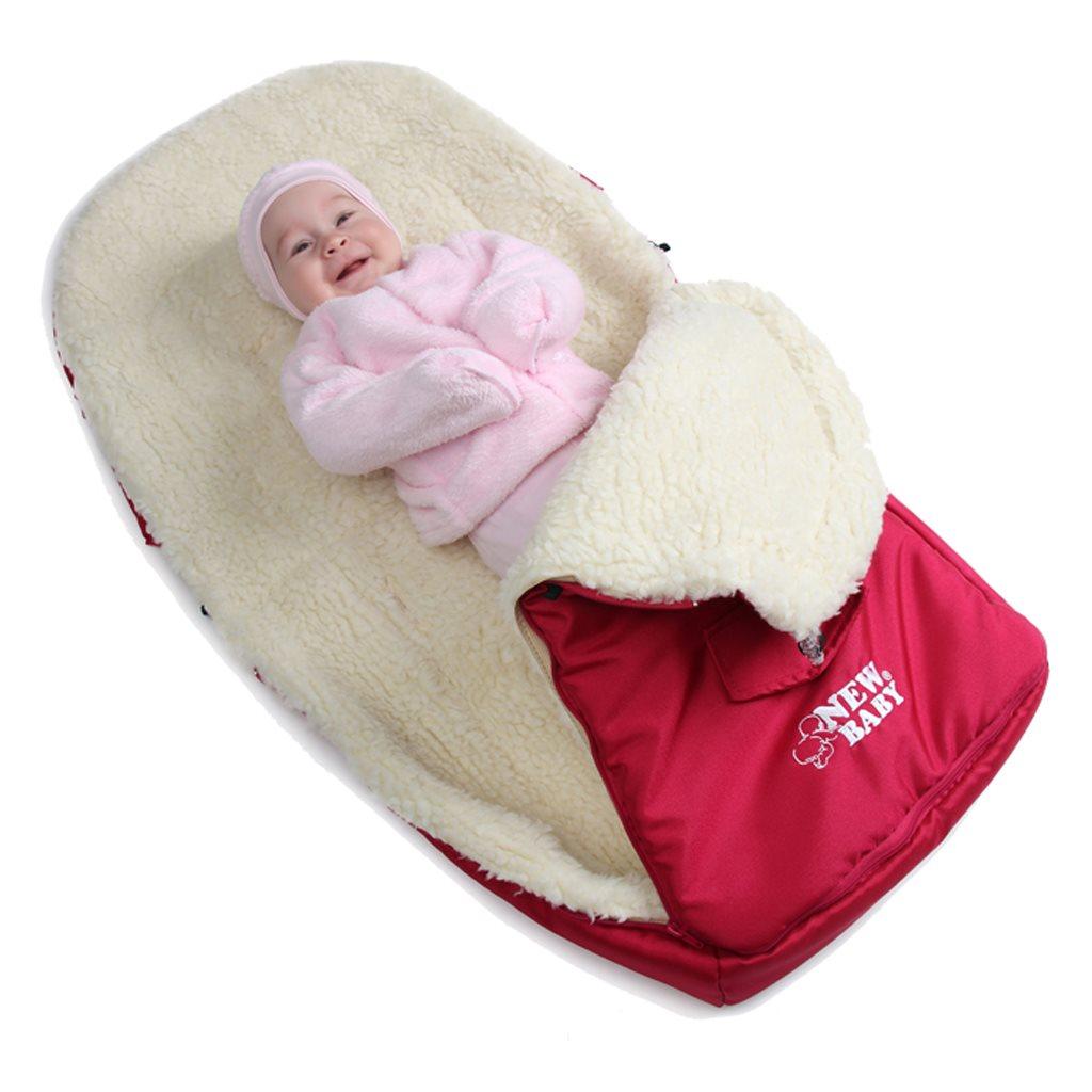 Luxusný fusak s ovčím rúnom New Baby tyrkysový