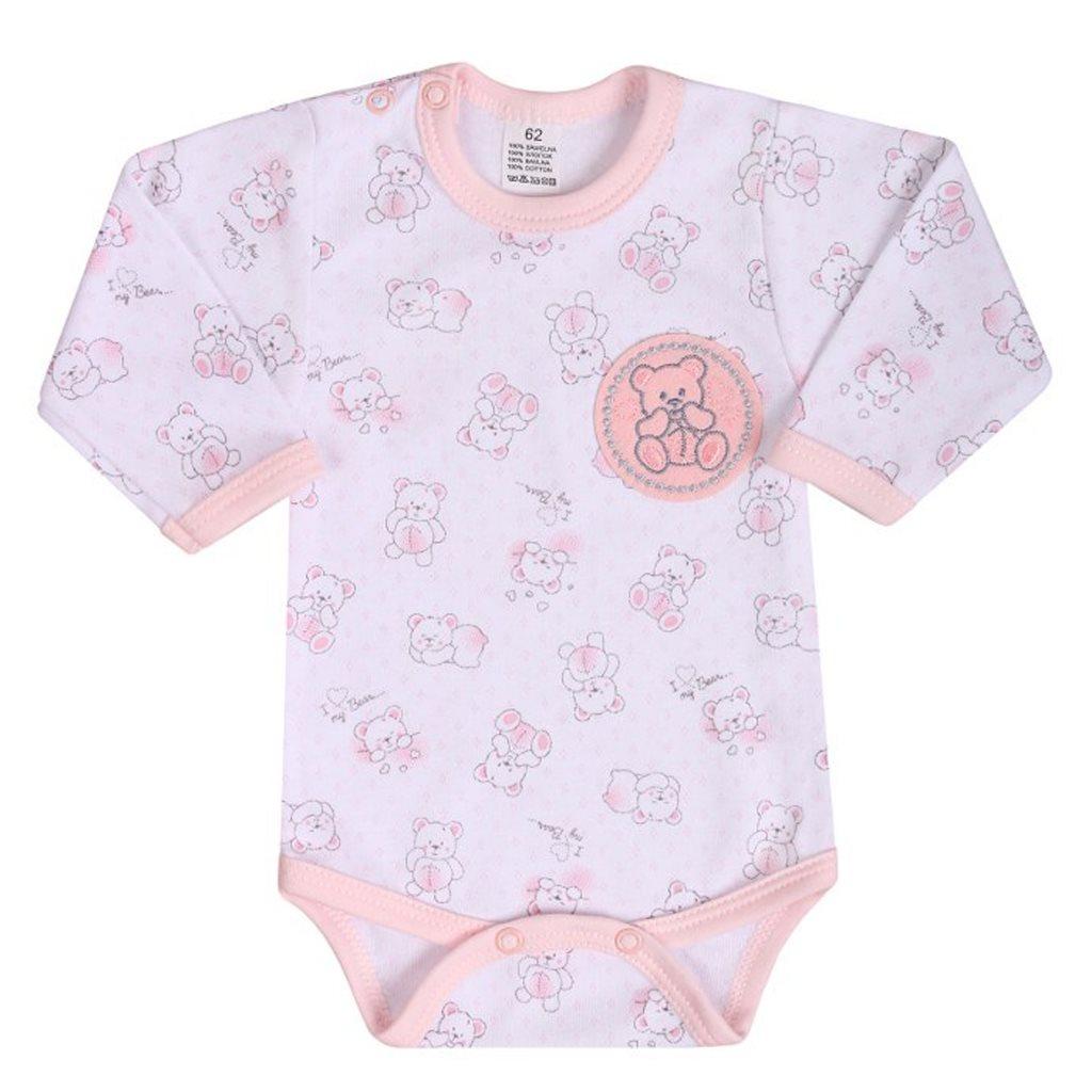 Dojčenské body s dlhým rukávom New Baby Roztomilý Medvedík ružové