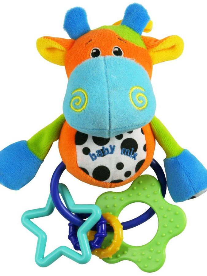 Plyšová hračka s hrkálkou Baby Mix krava