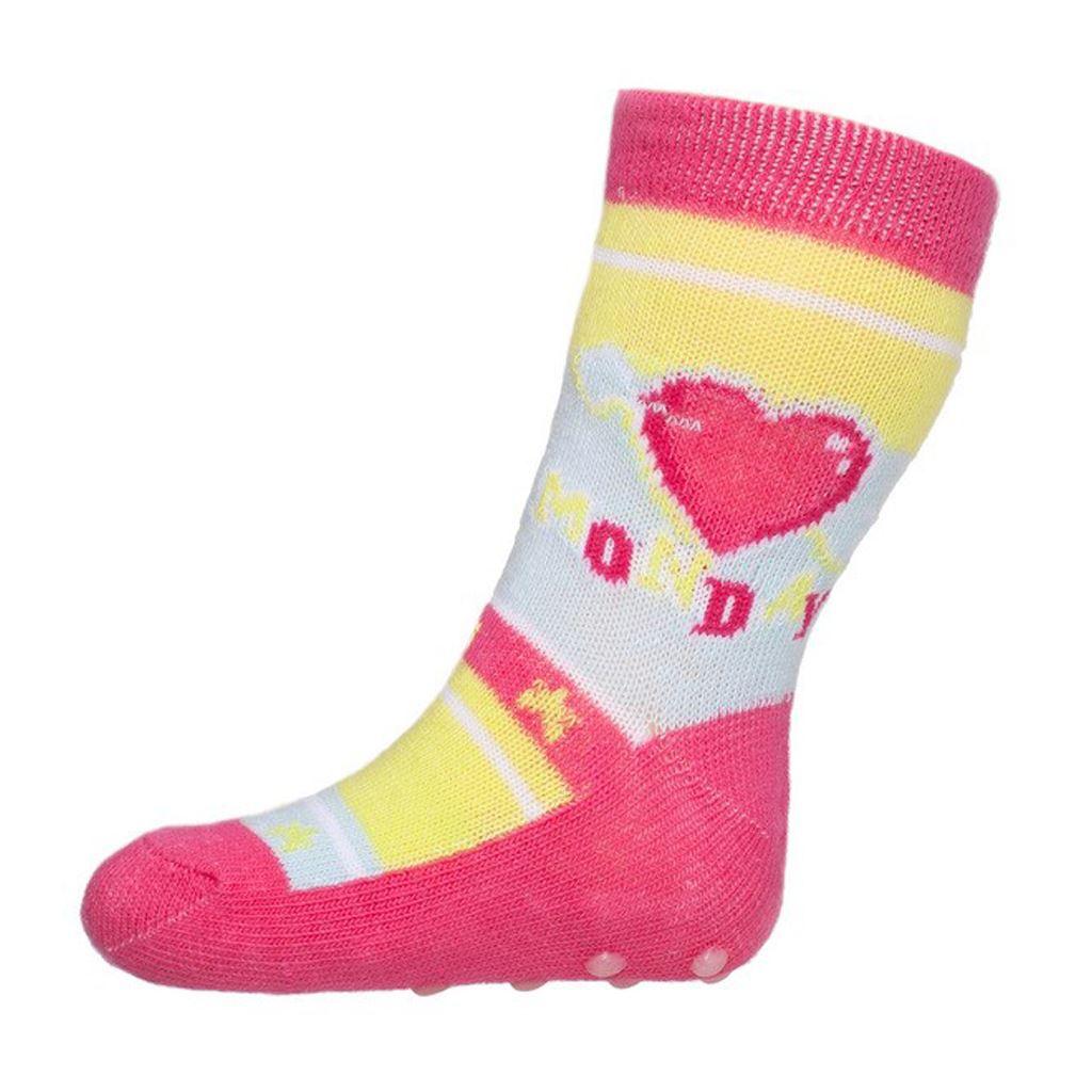 Dojčenské ponožky New Baby s ABS ružové so srdiečkom monday-62 (3-6m)