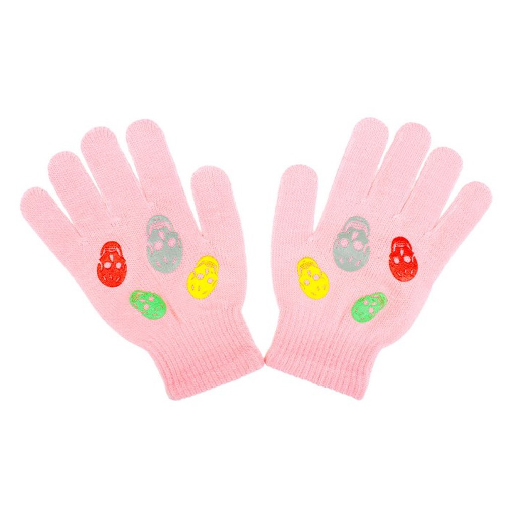 Detské zimné rukavičky New Baby Girl svetlo ružové-122 (6-7 rokov)