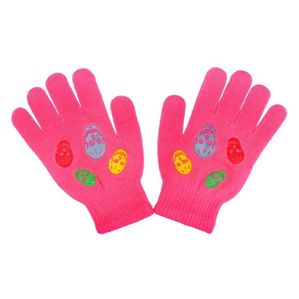 Detské zimné rukavičky New Baby Girl tmavo ružové-122 (6-7 rokov)
