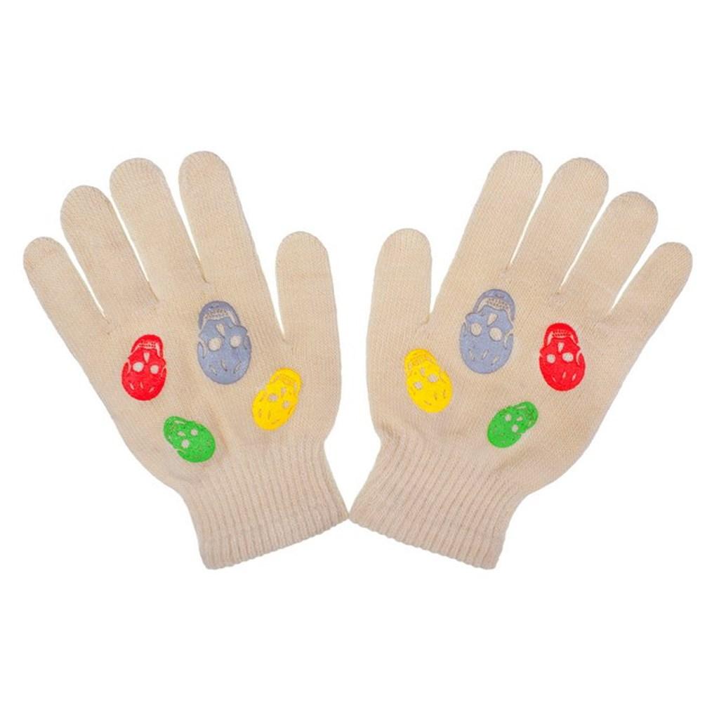 Detské zimné rukavičky New Baby Girl béžové-122 (6-7 rokov)