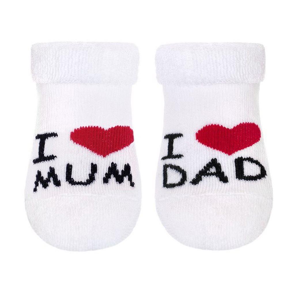 Dojčenské froté ponožky New Baby biele I Love Mum and Dad-62 (3-6m)