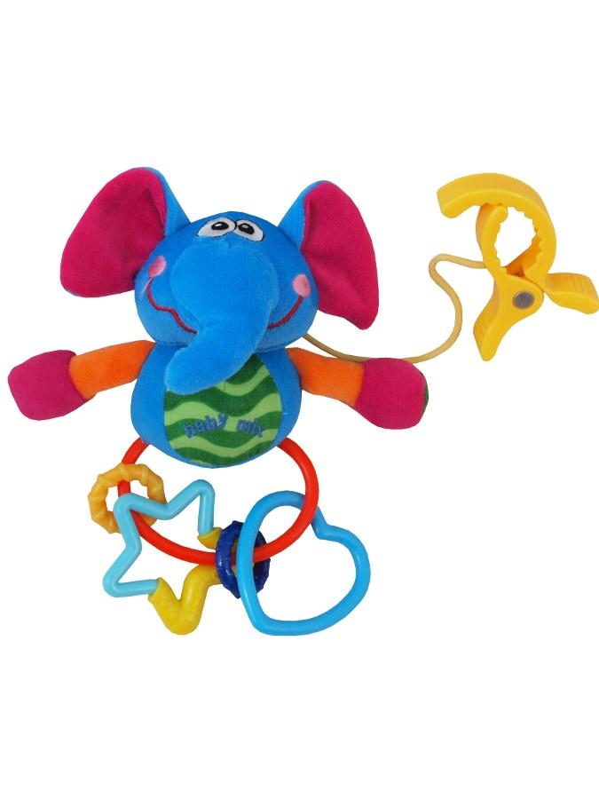 Plyšová hračka s hrkálkou Baby Mix sloník