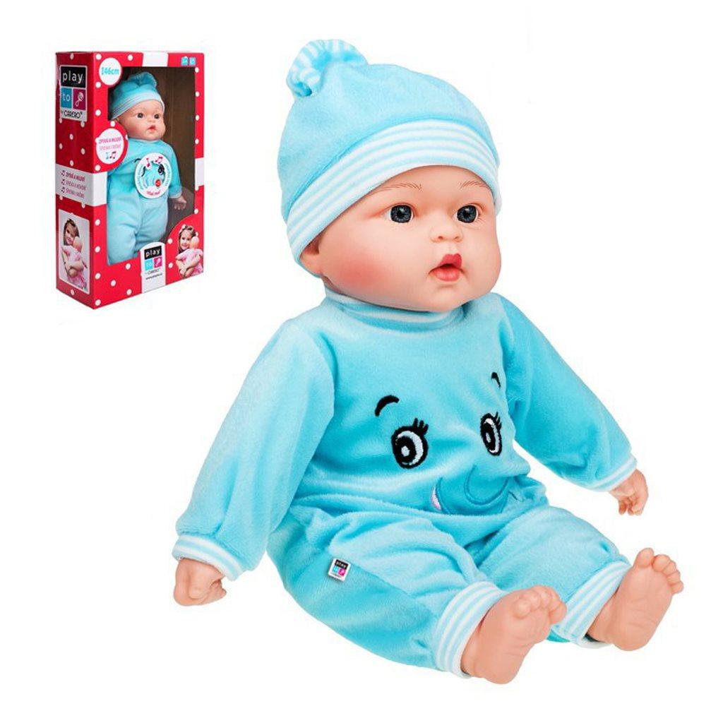 Poľsky hovoriaca a spievajúca detská bábika PlayTo Beatka 46 cm, Modrá