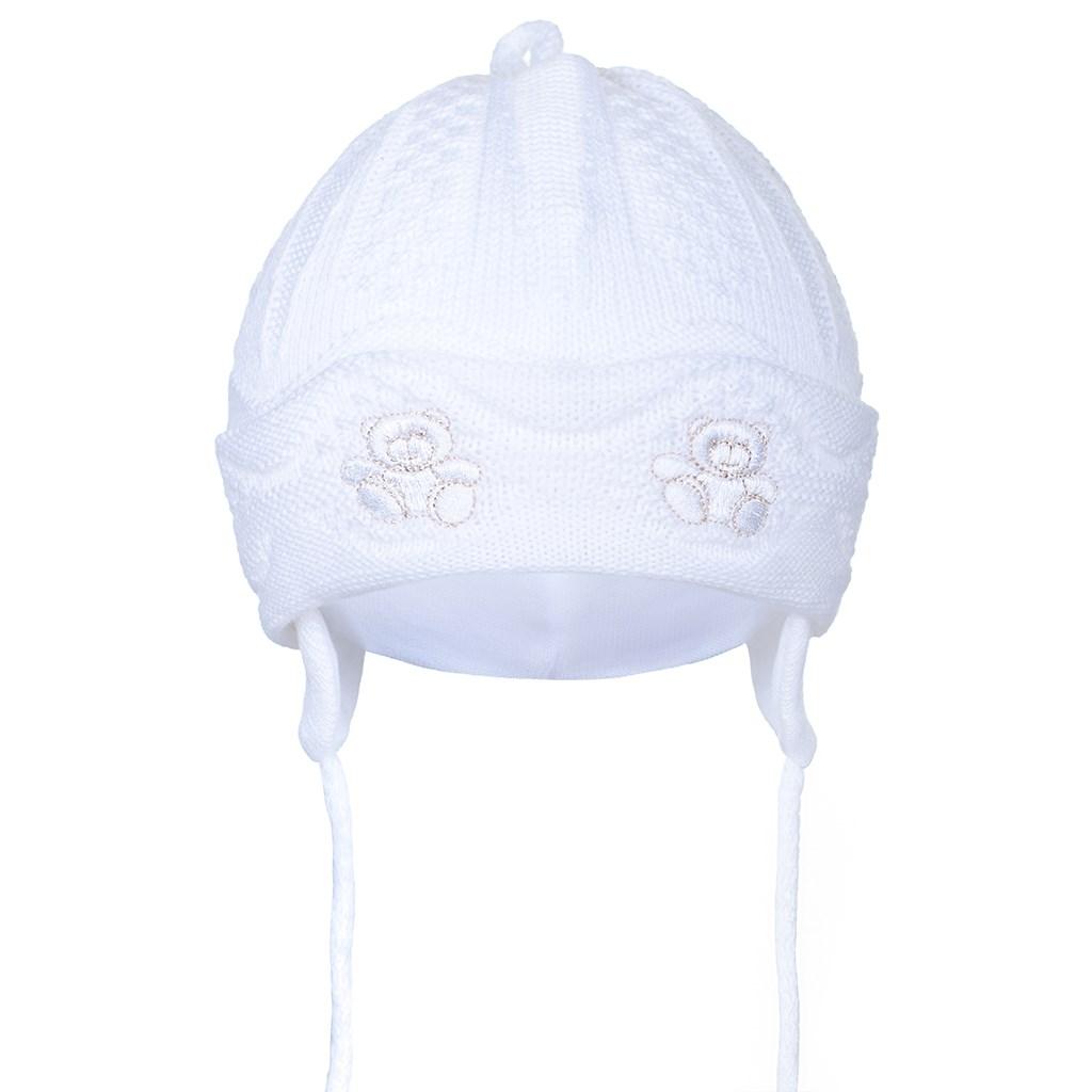 Pletená detská čiapočka New Baby medvedíkovia biela