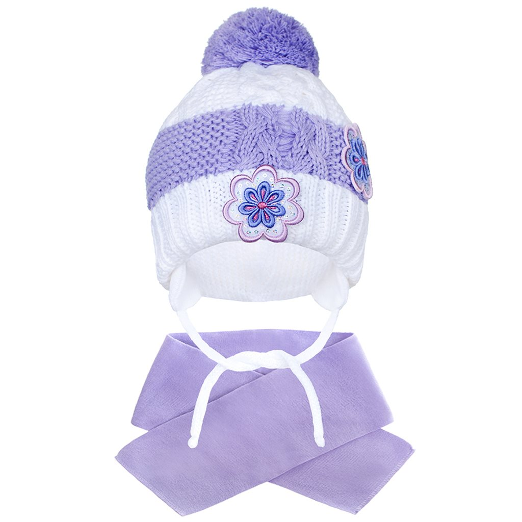 Zimná detská čiapočka so šálom New Baby kvietočky fialová 104 (3-4r)