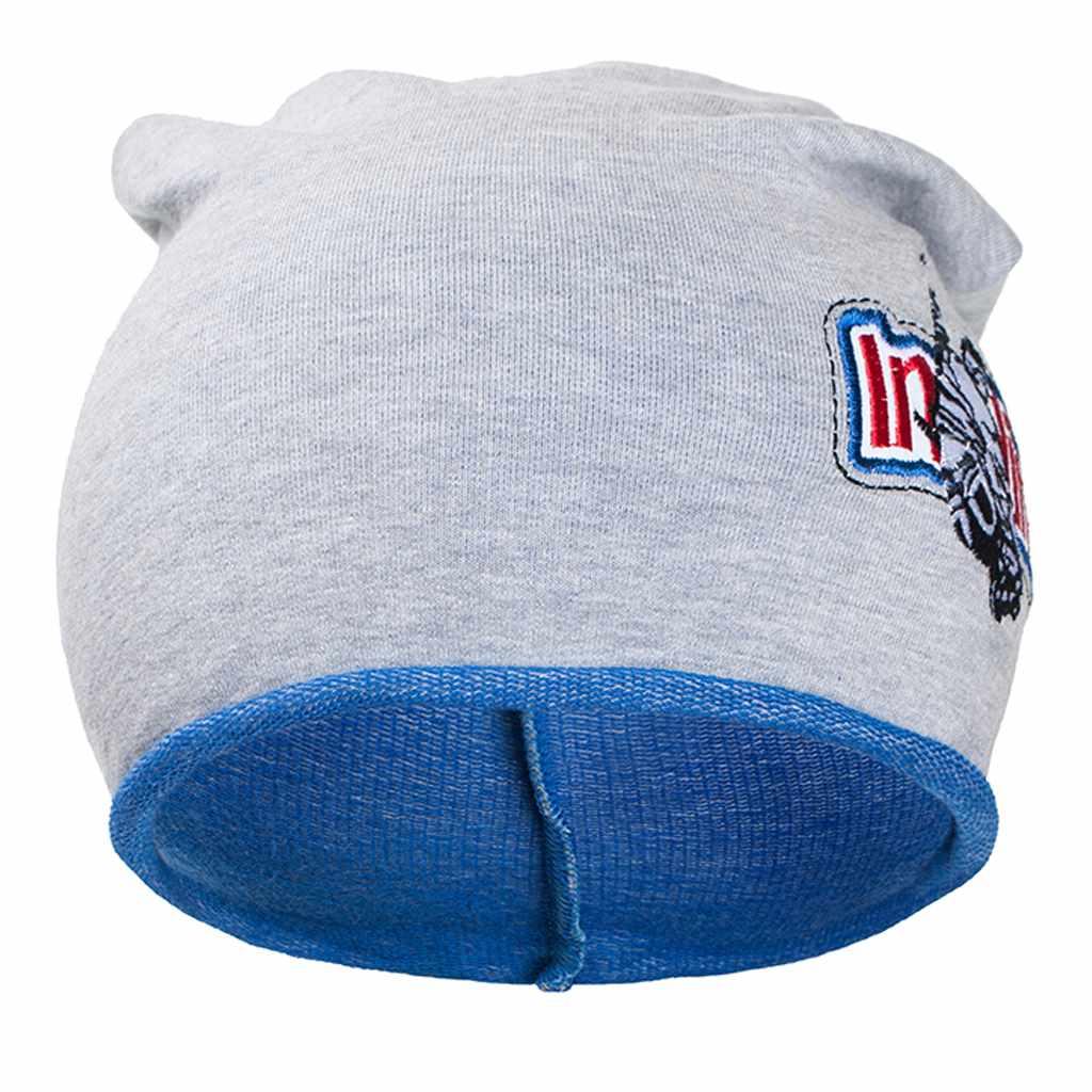Jesenná detská čiapočka New Baby In-line sivo-modrá