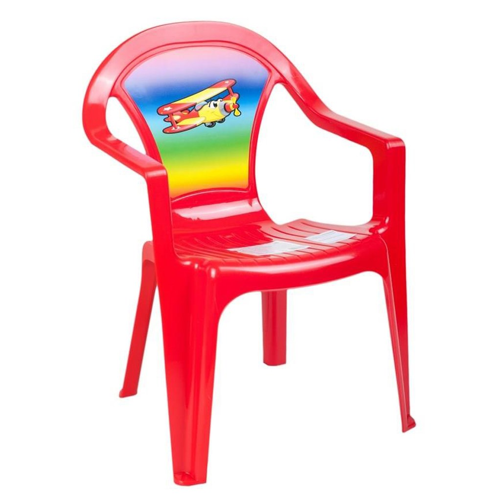 Detský záhradný nábytok - Plastová stolička červená lietadlo