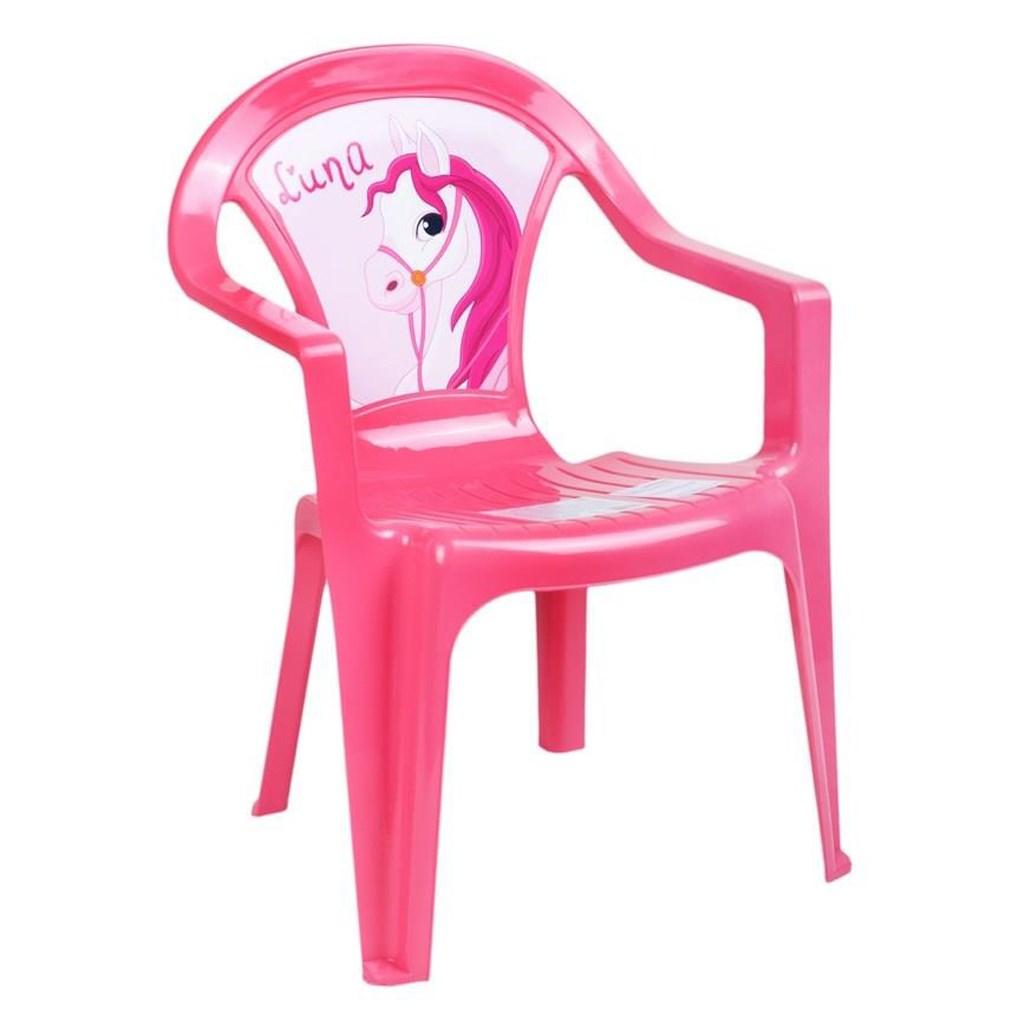 Detský záhradný nábytok - Plastová stolička ružová
