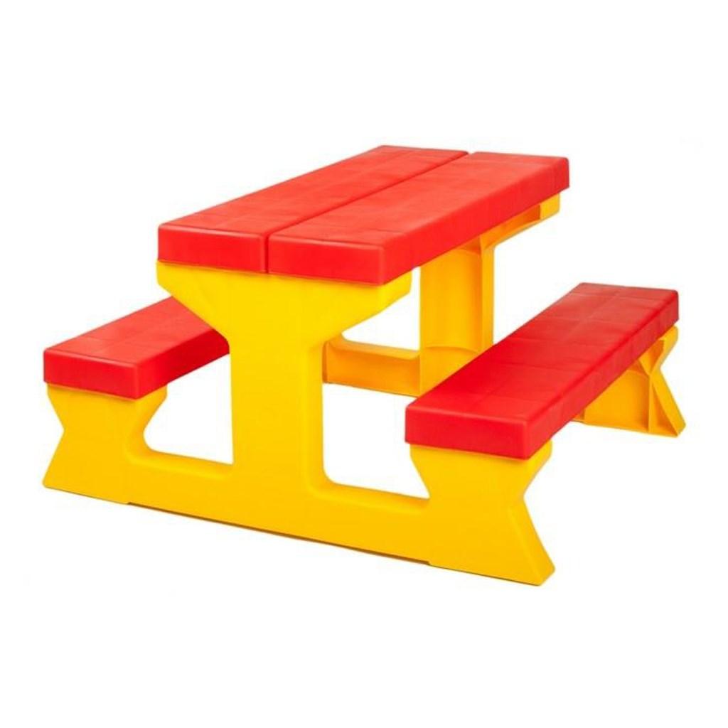 Detský záhradný nábytok - Stôl a lavičky červeno-žltý