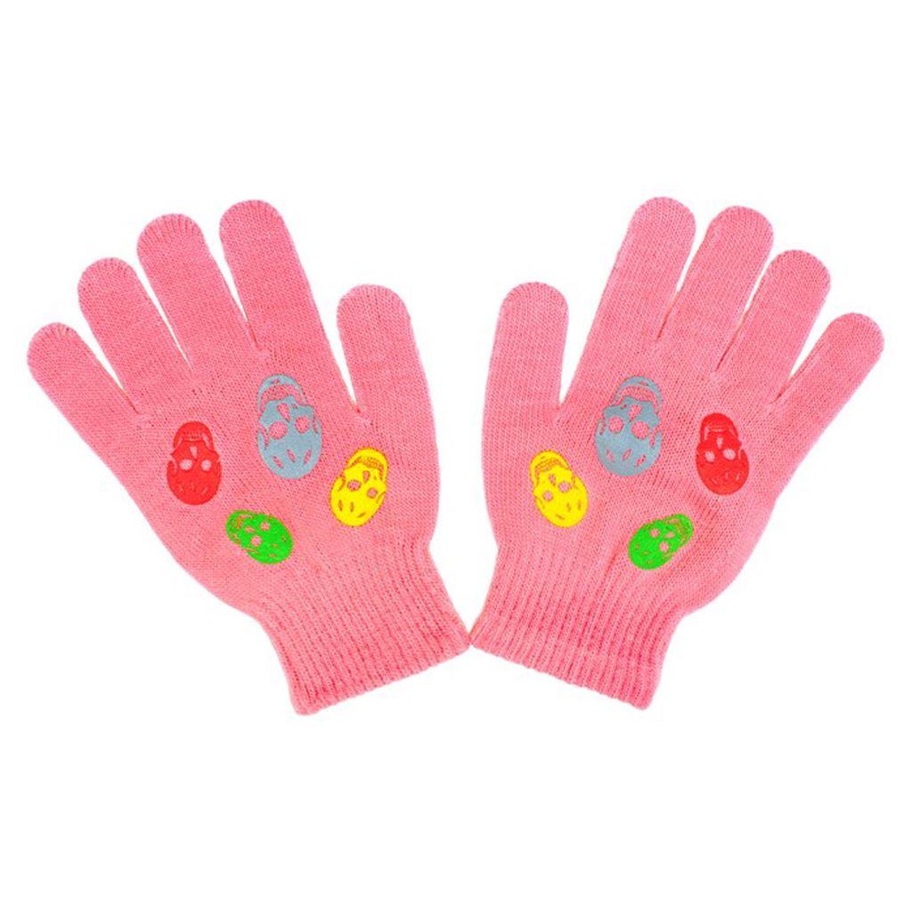 Detské rukavičky New Baby Girl malinové-122 (6-7 rokov)