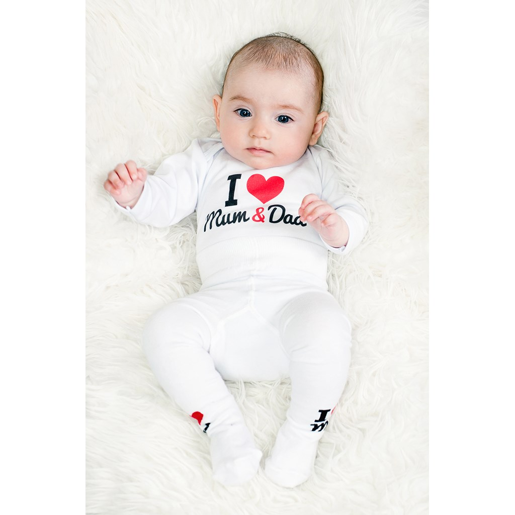 Body s potlačou New Baby I Love Mum and Dad 56 (0-3m)
