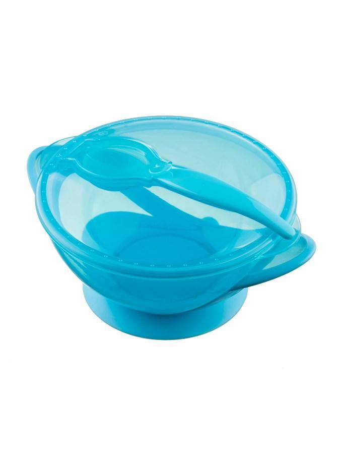 Detská miska s prísavkou a s lyžičkou Akuku modrá