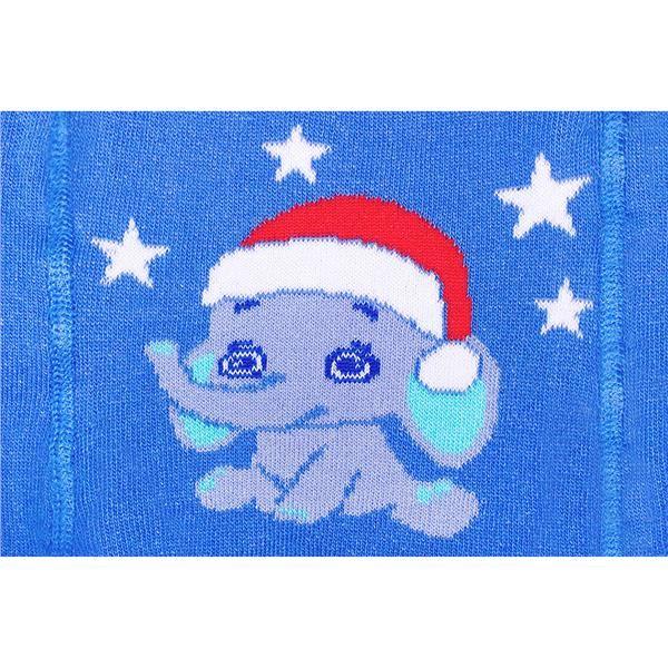 Vianočné bavlnené pančucháčky New Baby modré so slonom 68 (4-6m)