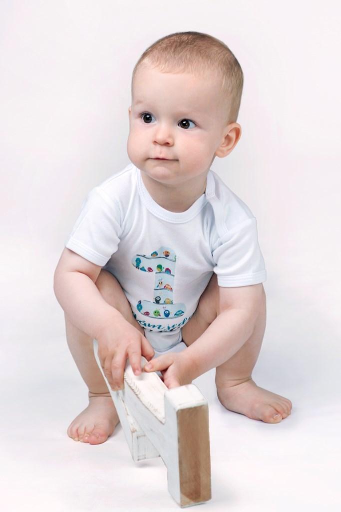 Body s potlačou New Baby Už mám 1 rok modré 80 (9-12m)
