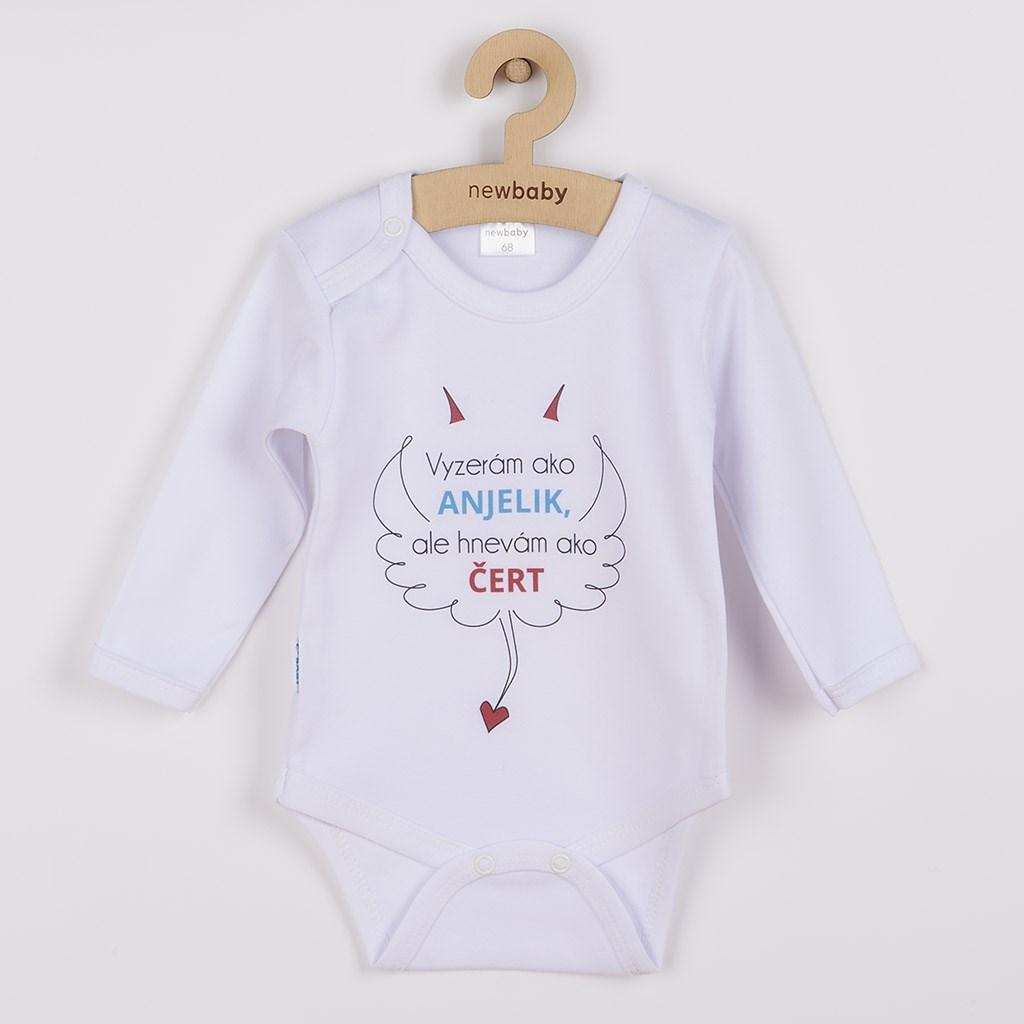 Body s potlačou New Baby Vyzerám ako ANJELIK, ale hnevám ako ČERT