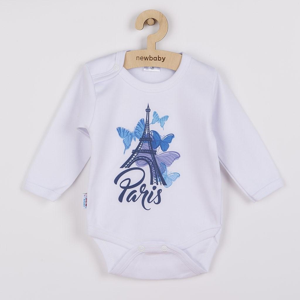 Dojčenské body s dlhým rukávom New Baby Towns modré 56 (0-3m)