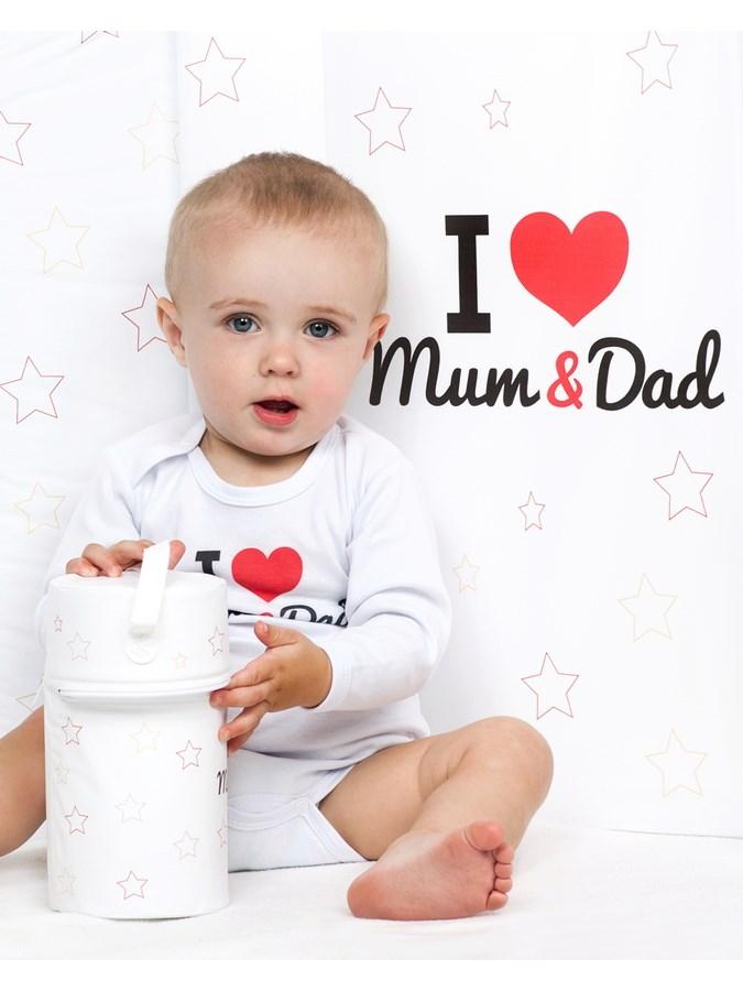 Prebaľovací nadstavec New Baby I love Mum and Dad biely 50x80cm