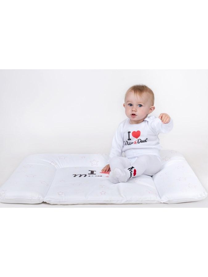 Prebaľovacia podložka New Baby I love Mum and Dad biela 80x50cm