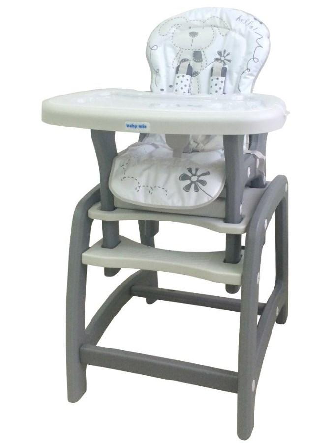 Jedálenská stolička Baby Mix 2v1 sivá