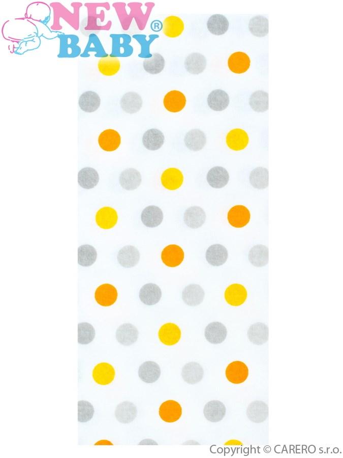 Flanelová plienka s potlačou New Baby biela s farebnými bodkami