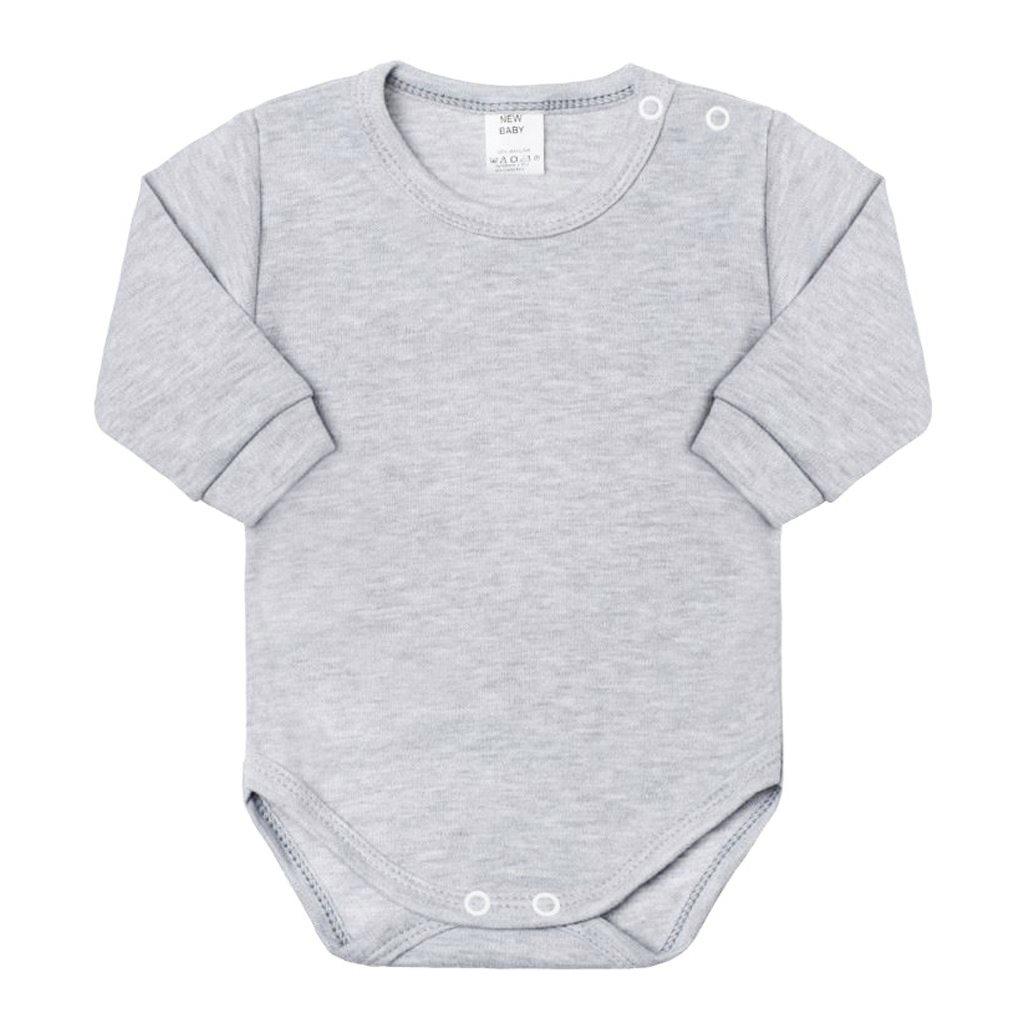 Dojčenské body s dlhým rukávom New Baby sivé 50