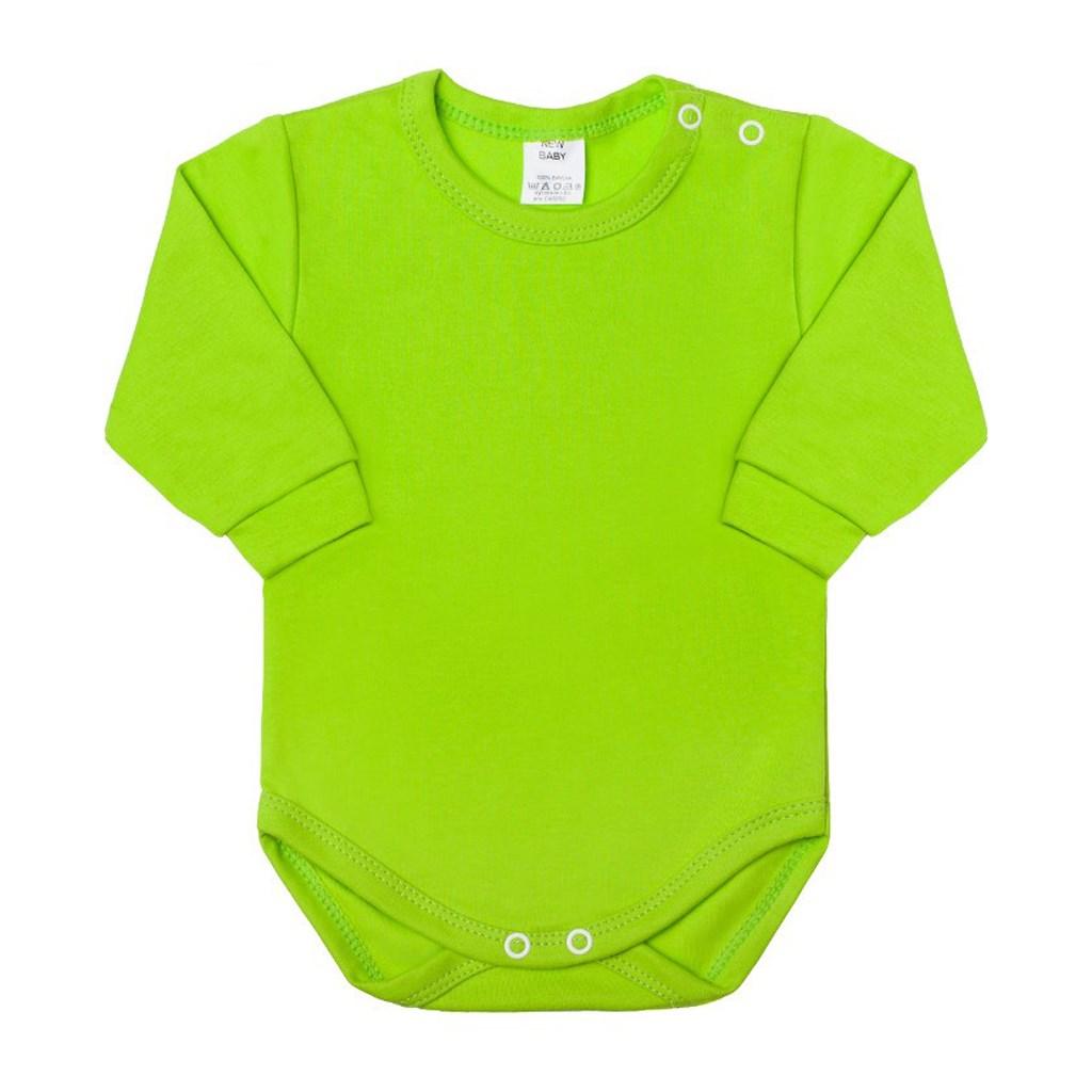 Dojčenské body s dlhým rukávom New Baby svetlo zelené