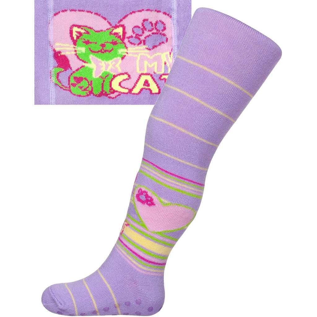 Bavlnené pančucháčky New Baby s ABS svetlo fialové my cat
