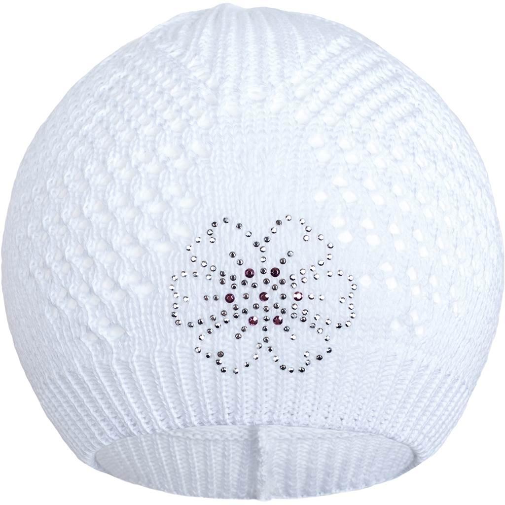 Pletená čiapočka New Baby kytička biela
