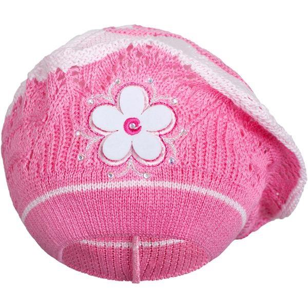 Pletená čiapočka-baret New Baby tmavo ružová