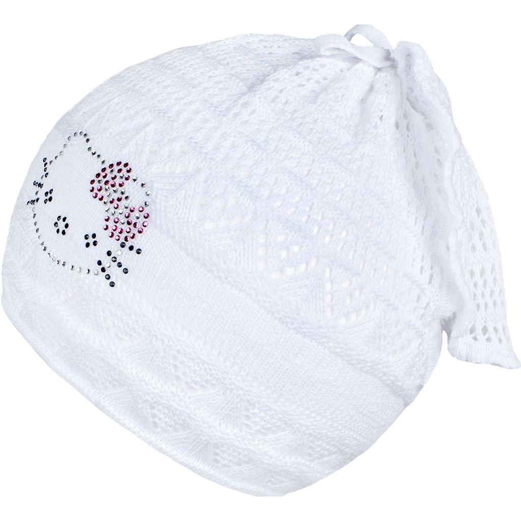 Pletená čiapočka-šatka New Baby mačička biela