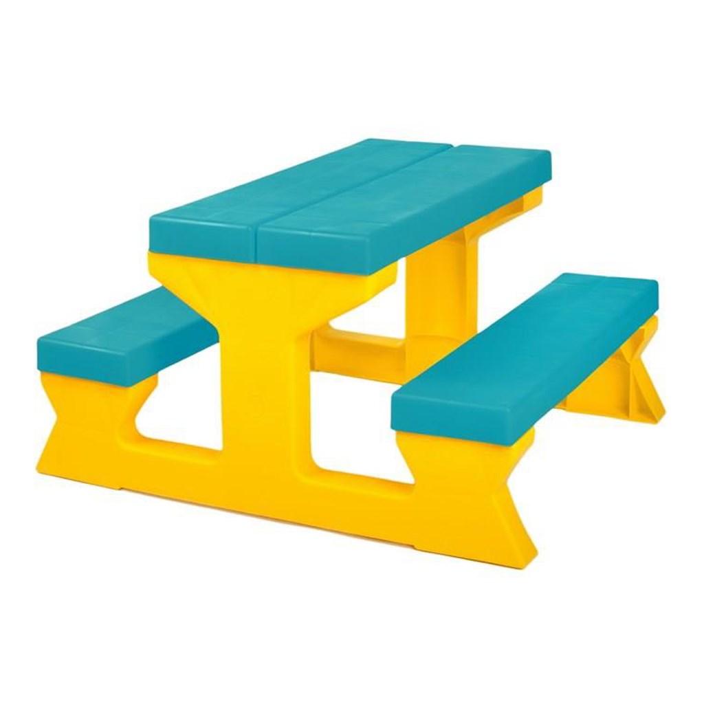 Detský záhradný nábytok - Stôl a lavičky tyrkysovo-žltý