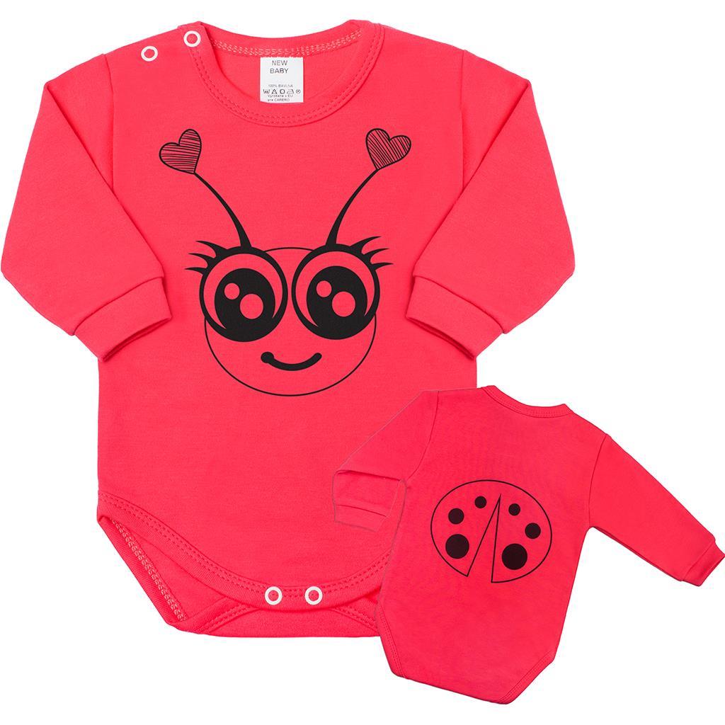 Dojčenské body s dlhým rukávom New Baby Zvieratko Lienka ružové