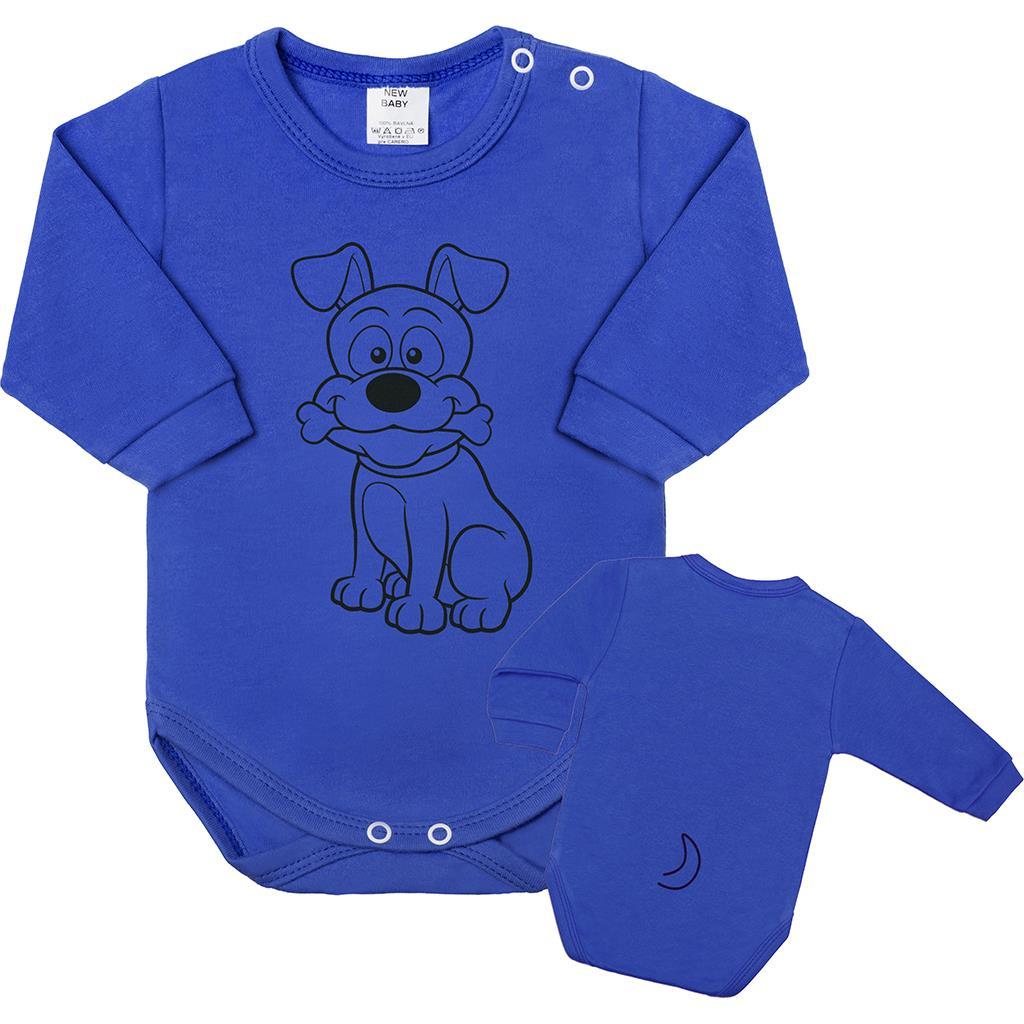 Dojčenské body s dlhým rukávom New Baby Zvieratko Psík modré