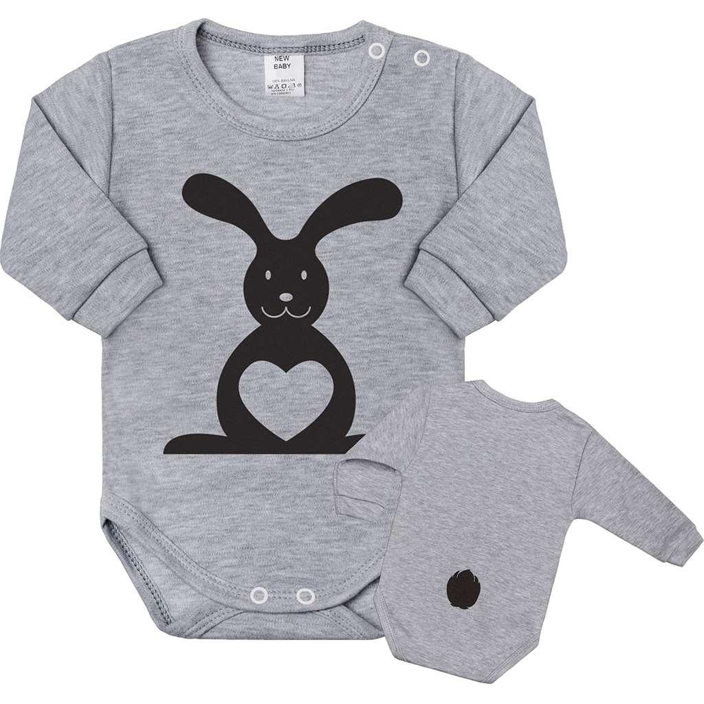 Dojčenské body s dlhým rukávom New Baby Zvieratko Zajačik sivé