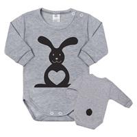 500e10516ea9 Dojčenské body s dlhým rukávom New Baby Zvieratko Zajačik sivé