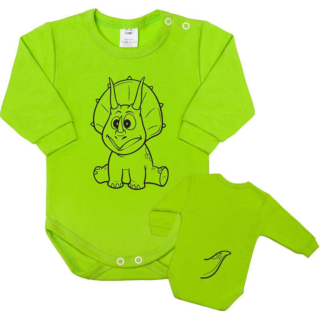 Dojčenské body s dlhým rukávom New Baby Zvieratko Dinosaurus svetlo zelené