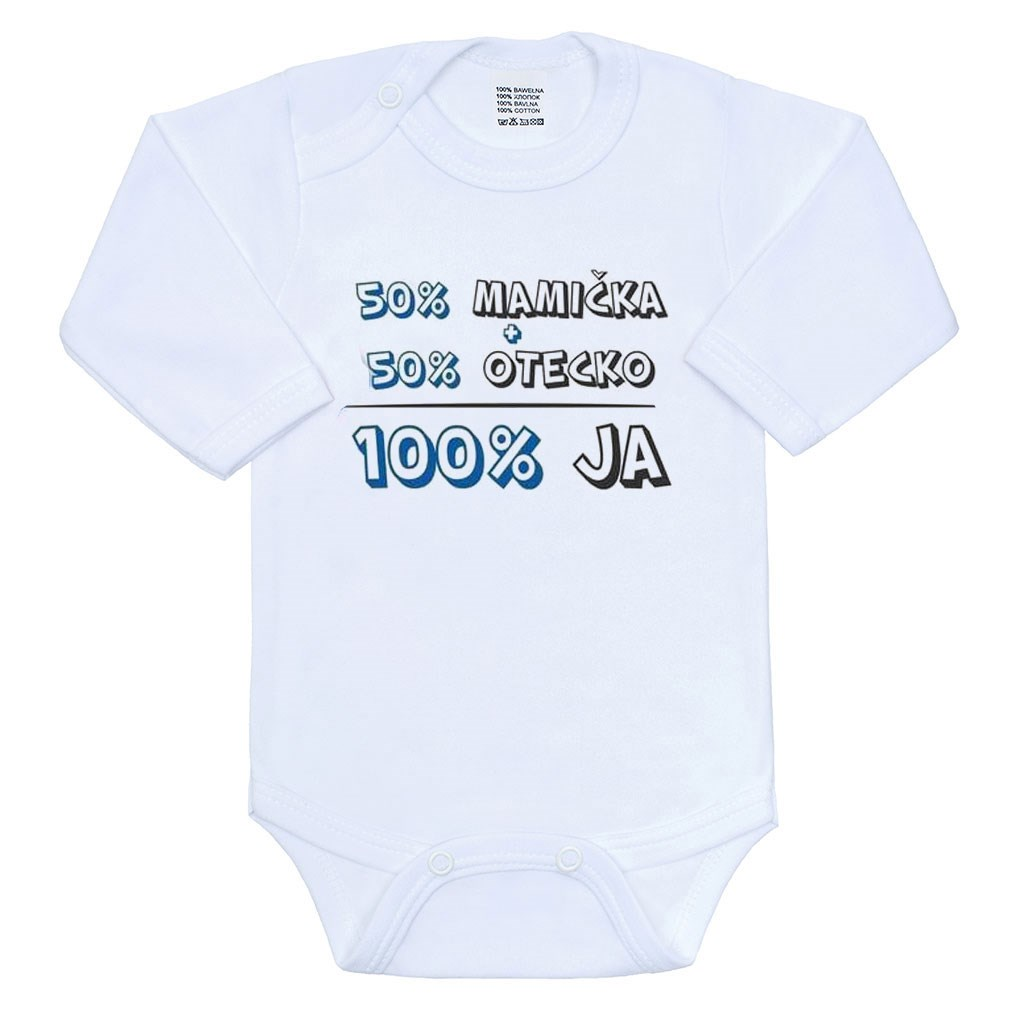 Body s potlačou New Baby 50% MAMIČKA + 50% OTECKO - 100% JA modré, 80 (9-12m), Modrá