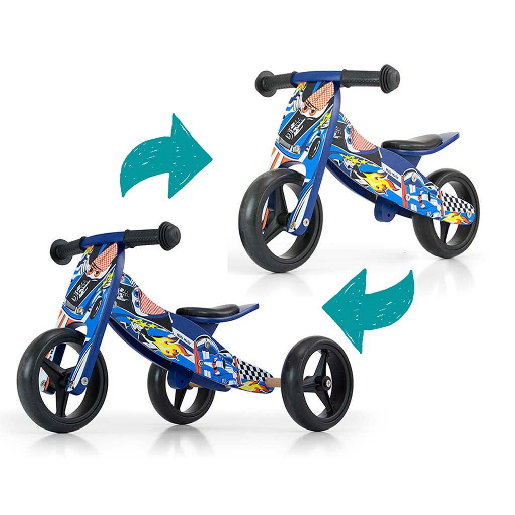 Detské multifunkčné odrážadlo bicykel Milly Mally JAKE blue