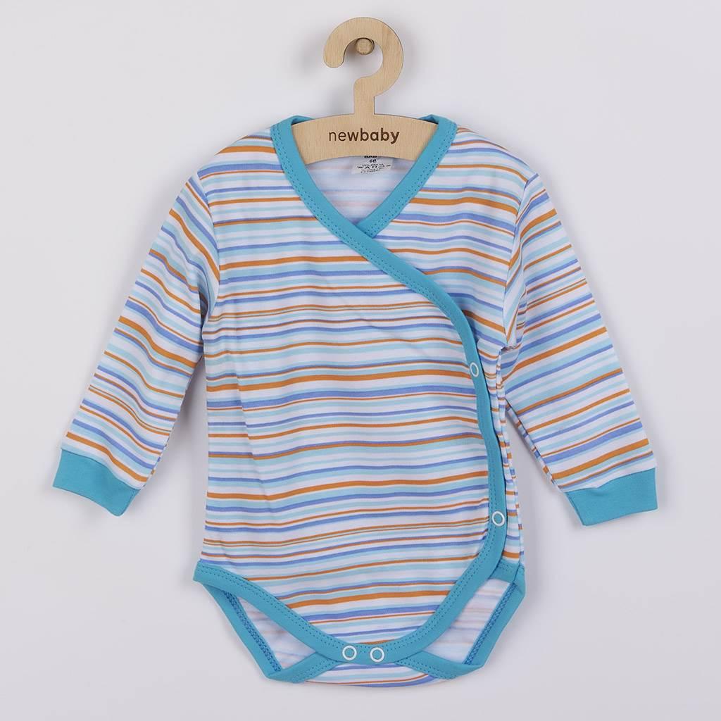 Dojčenské body s dlhým rukávom celorozopínacie New Baby Puppik 2 tyrkysové