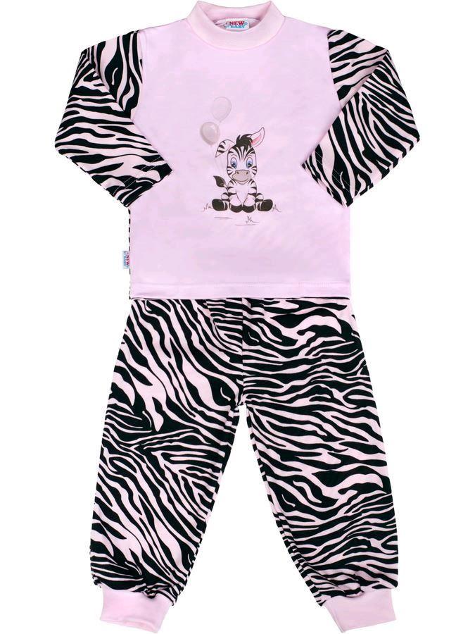 Detské bavlnené pyžamo New Baby Zebra s balónikom ružové-116 (5-6 rokov)