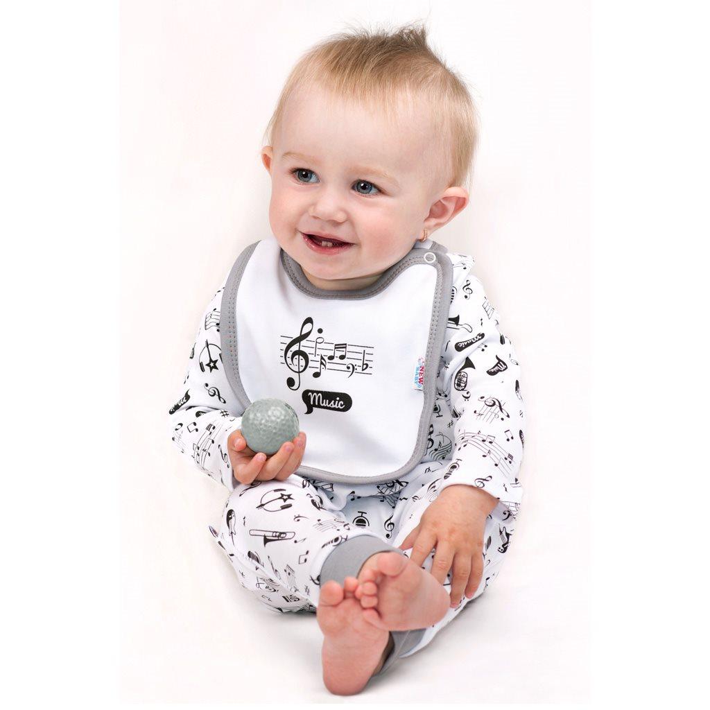 Dojčenské bavlnené body s dlhým rukávom New Baby Music
