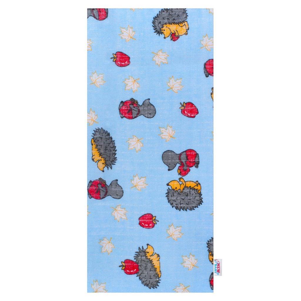 Bavlnená plienka s potlačou New Baby modrá s ježkom