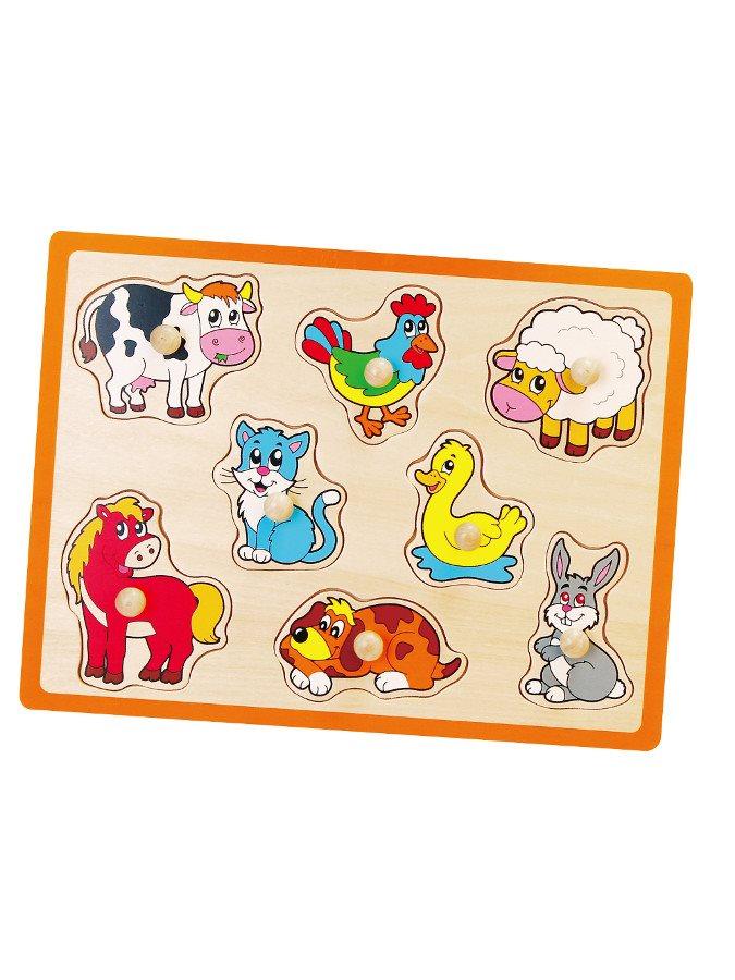 Detské drevené puzzle s úchytmi Viga Farma