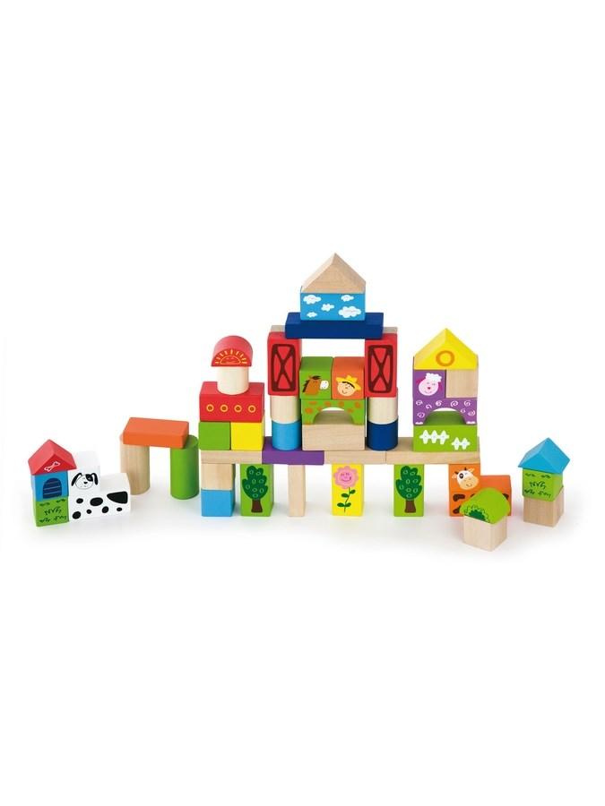 Drevené kocky pre deti Viga Farma 50 dielov