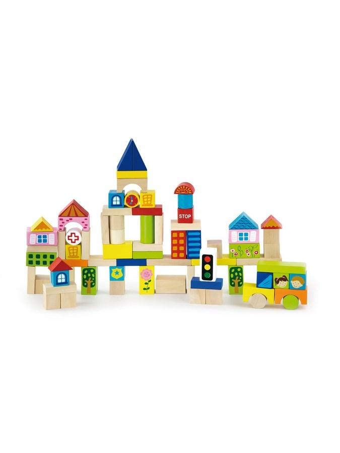 Drevené kocky pre deti Viga City 75 dielov